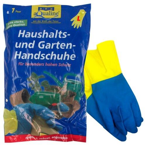 Перчатки aQualine бытовые прочные, 1 пара, размер L, цвет желтый/синий