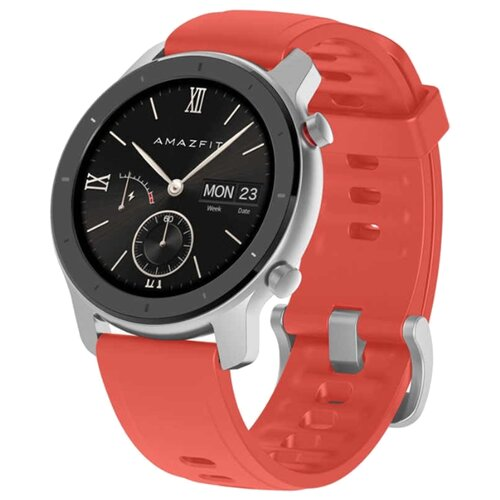 Умные часы Amazfit GTR 42 mm aluminium case, silicone strap coral red amazfit pace red