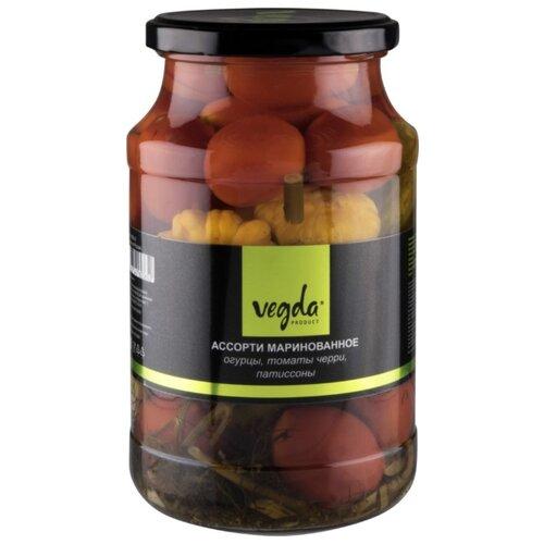 Ассорти маринованное product огурцы томаты черри Vegda стеклянная банка 950 мл томаты черри mikado маринованные