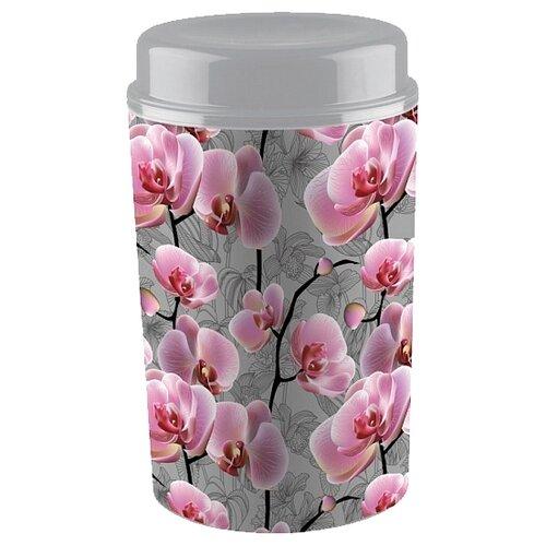 Phibo Ёмкость для сыпучих продуктов с декором Deluxe (1.4 л) серый/розовый