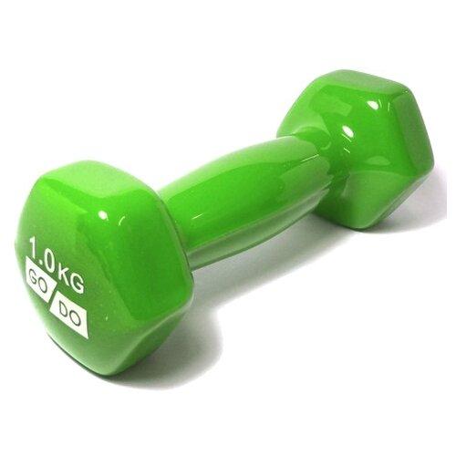 Гантель цельнолитая Go Do в виниловой оболочке 1 кг зеленый