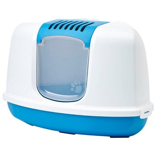 Туалет-домик для кошек SAVIC Nestor Corner 58.5х45.5х40 см белый/голубой