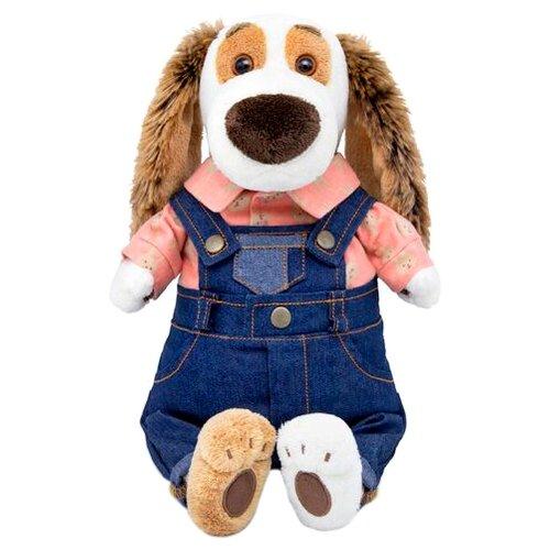 Мягкая игрушка Basik&Co Пёс Бартоломей в джинсовом комбинезоне 33 см