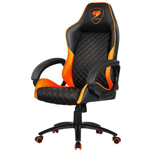 Компьютерное кресло COUGAR Fusion игровое, обивка: искусственная кожа, цвет: черный/оранжевый коврик cougar neon x черный