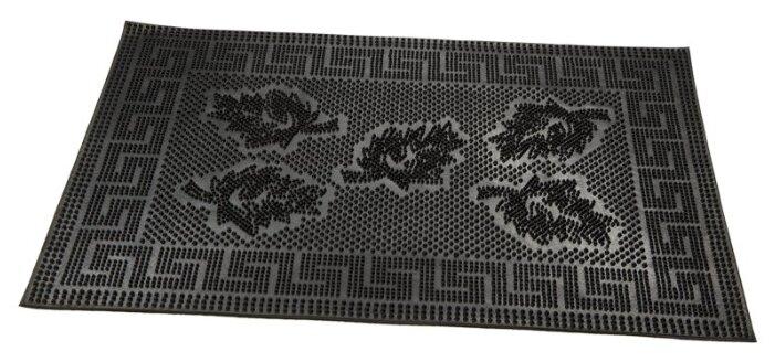 Придверный коврик RemiLing Листья, размер: 0.6х0.4 м, черный