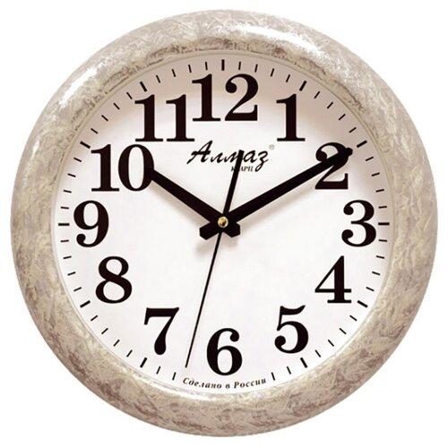 Часы настенные кварцевые Алмаз H32-H35 светло-серый/белый часы настенные кварцевые алмаз h32 h35 светло бежевый белый