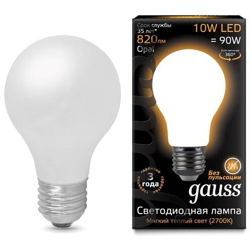 Лампа светодиодная gauss 102202110, E27, A60, 10Вт лампа светодиодная gauss 23219 e27 a60 20вт