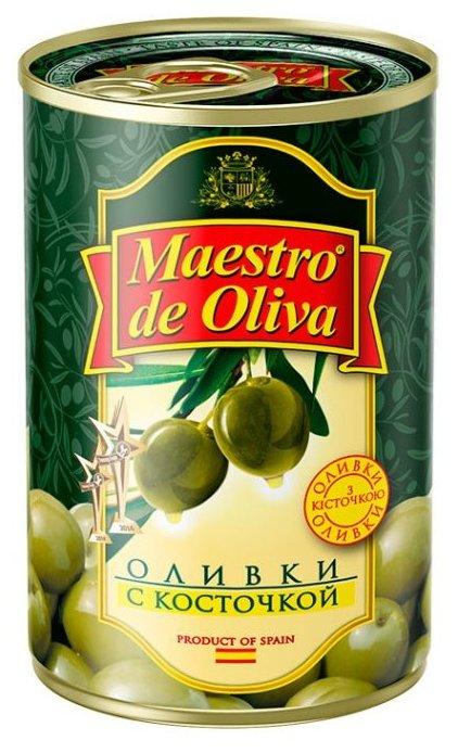 Maestro De Oliva Оливки в рассоле с косточкой, жестяная банка 300 г