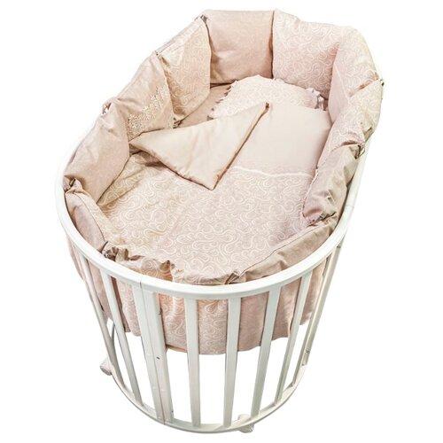 Купить Сонный Гномик комплект Версаль с бортиками-подушками (6 предметов) дымчато-бежевый, Постельное белье и комплекты