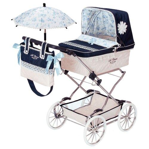 Купить Коляска-люлька DeCuevas Романтик с сумкой и зонтиком (82025) синий/бежевый, Коляски для кукол
