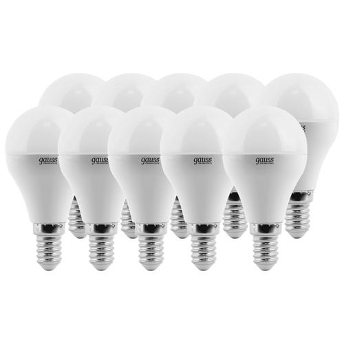 Упаковка светодиодных ламп 10 шт gauss E14, G45, 6ВтЛампочки<br>