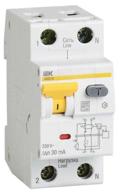 Дифференциальный автомат IEK АВДТ 32 2П 10 мА B 16 А