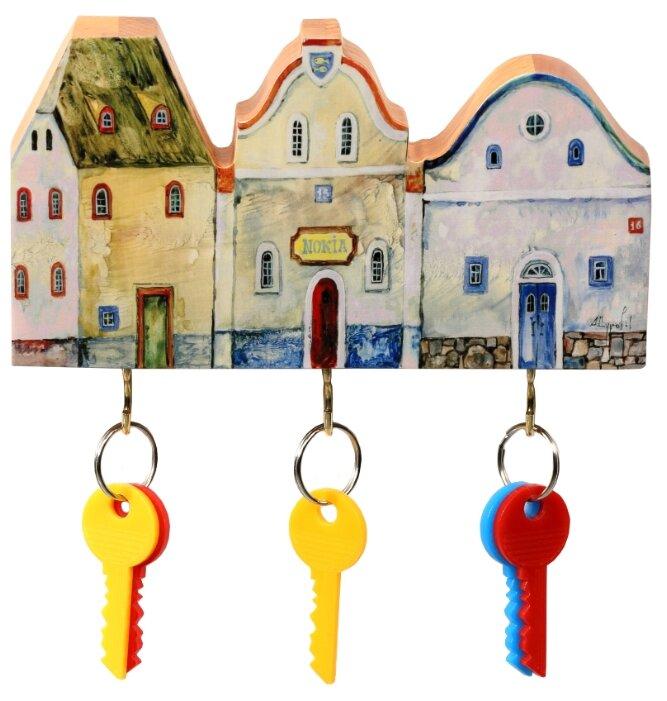 Ключница elf Маленькие городские домики, 19x11 см разноцветный