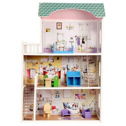 Купить SunnyWoods кукольный домик Алина, белый/зеленый/розовый, Кукольные домики