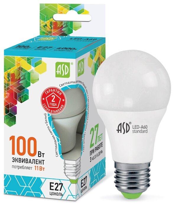Лампа светодиодная ASD LED-A60-STD 11ВТ 230В Е27 4000К 990ЛМ E27, A60, 11Вт, 4000К