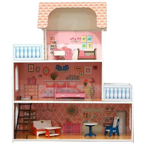 SunnyToy кукольный домик Маруся, розовый/голубой/белый
