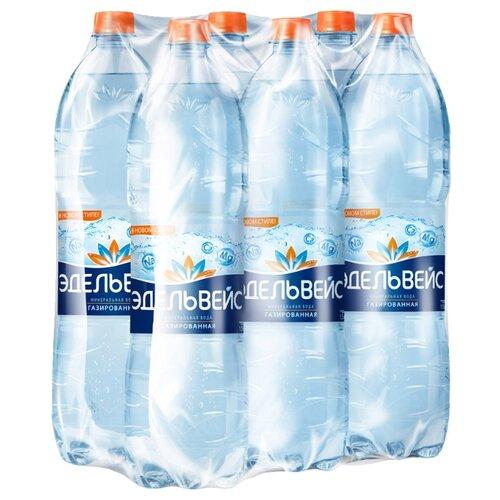 цена на Минеральная вода Эдельвейс газированная, ПЭТ, 6 шт. по 1.5 л