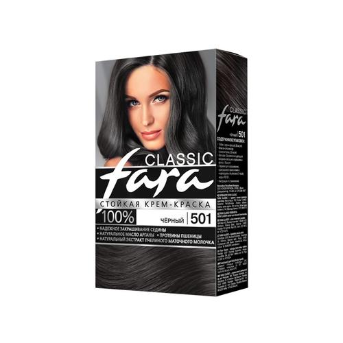 Fara Classic Стойкая крем-краска для волос, 501, черный