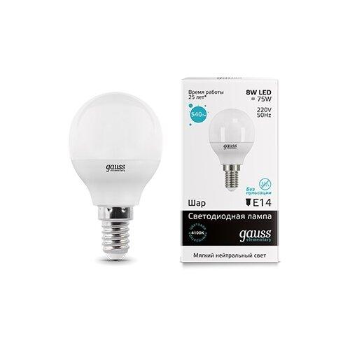 Лампа светодиодная gauss 53128, E14, G45, 8Вт лампа светодиодная gauss 33138 e14 c37 8вт