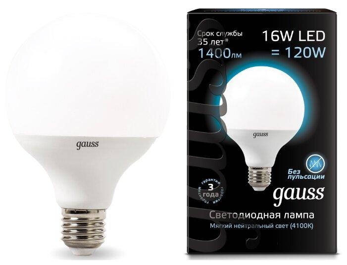 Лампа светодиодная gauss 105102216, E27, G95, 16Вт