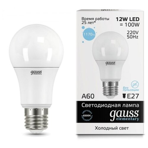 Лампа светодиодная gauss 23232, E27, A60, 12Вт лампа светодиодная gauss 23219 e27 a60 20вт
