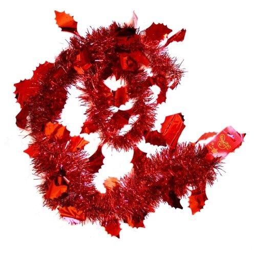 Мишура Феникс Present новогодняя 200 х 6 см, красный magic time мишура золотые листья 6 200 см