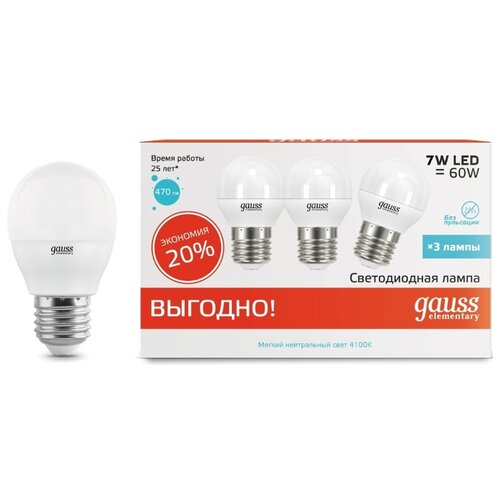 Фото - Упаковка светодиодных ламп 3 шт gauss 53227T, E27, G45, 7Вт упаковка светодиодных ламп 10 шт gauss 105101207 e14 g45 6 5вт