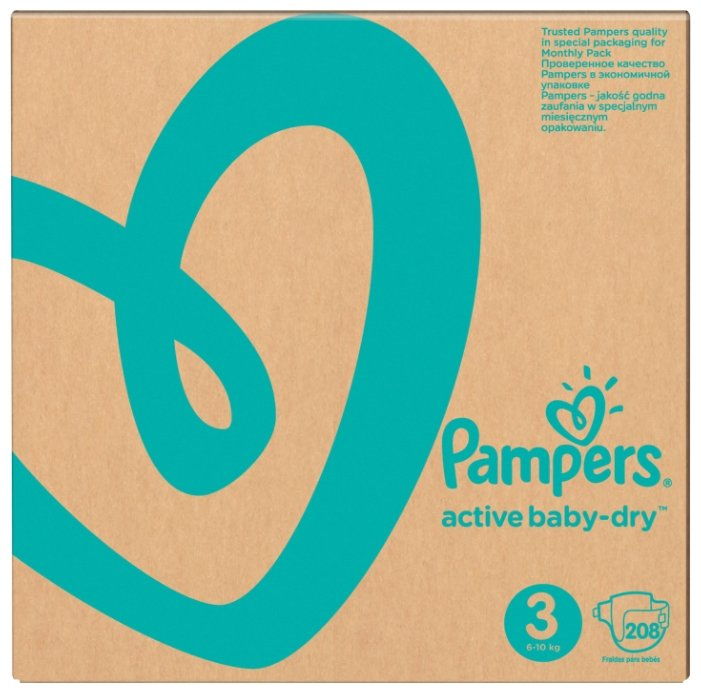 Pampers подгузники Active Baby-Dry 3 (6-10 кг) 208 шт.