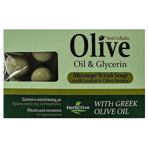 Мыло кусковое HerbOlive Массажное для пилинга с глицерином против целлюлита, 100 г сауна против целлюлита