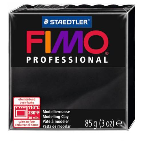 Купить Полимерная глина FIMO Professional запекаемая 85 г черный (8004-9), Глина