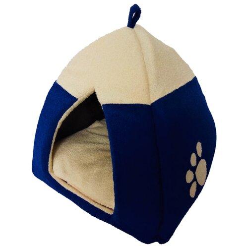 Домик для собак и кошек LOORI Лапка 35х35х32 см синий
