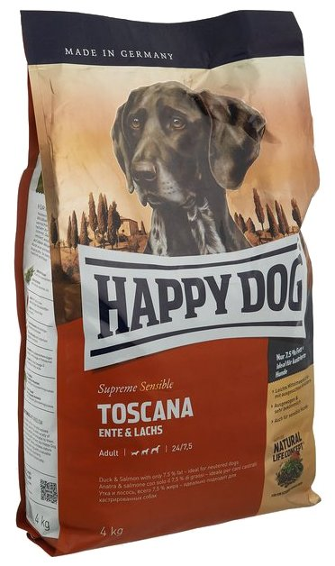 Корм для собак Happy Dog Supreme Sensible Toscana для здоровья кожи и шерсти, лосось, утка 4 кг