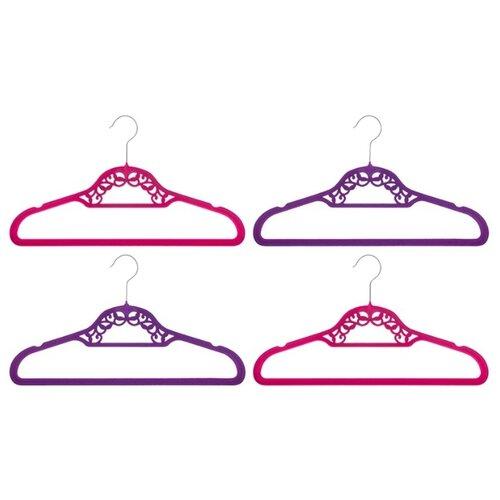 Вешалка EL CASA Набор с перекладиной Кружево 4шт бордовый/фиолетовый