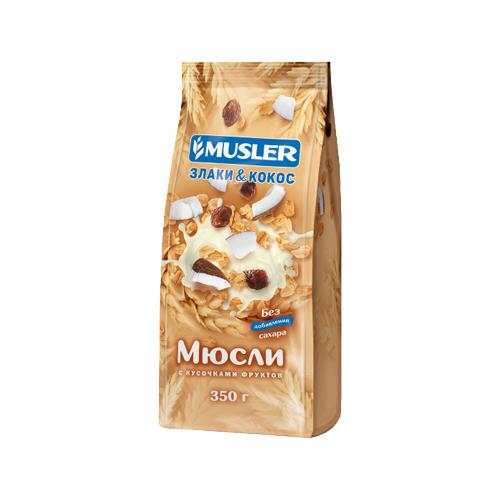 Мюсли Musler хлопья Злаки и кокос с кусочками фруктов, пакет, 350 г