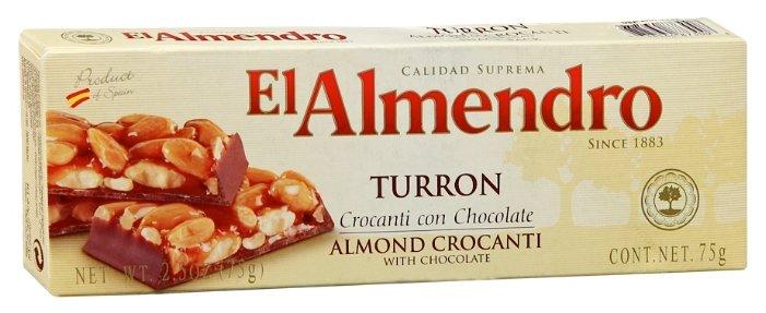 Нуга El Almendro Туррон хрустящий миндальный с шоколадом 75 г