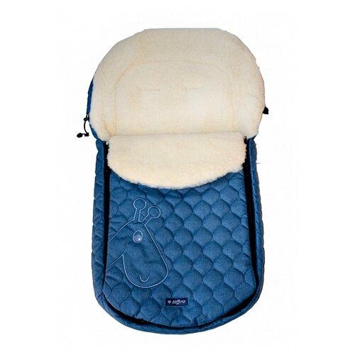 Купить Конверт-мешок Womar S61 Giraffe-melange fabric quilted embroidery в коляску 95 см синий, Конверты и спальные мешки