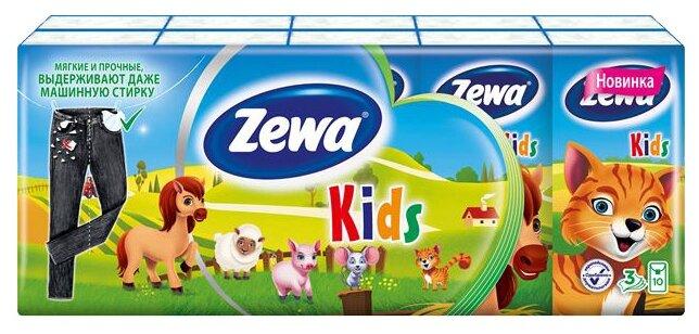 Носовые платки детские Zewa Kids, 3 слоя, 10 шт х 10