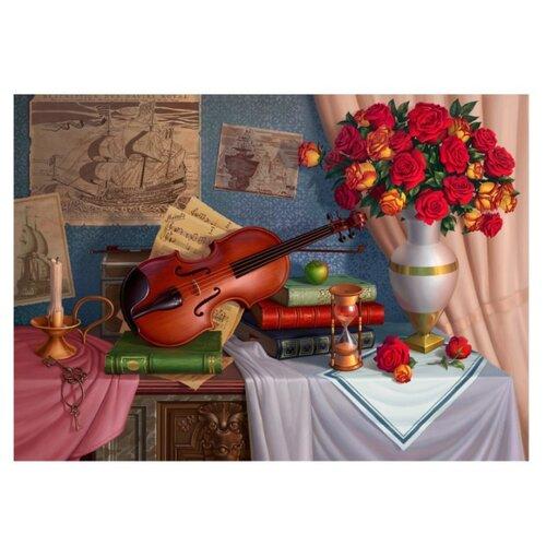 Купить Рыжий кот Картина по номерам Натюрморт со скрипкой и букетом 30х40 см (AWD3036), Картины по номерам и контурам