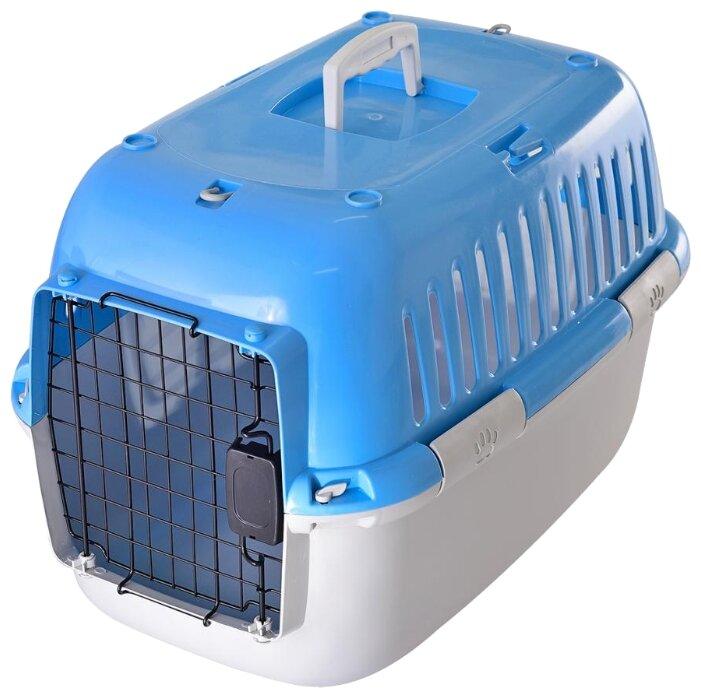 Переноска-клиппер для кошек и собак Fauna International Explorer Sport 57х38х38 см голубой/серый