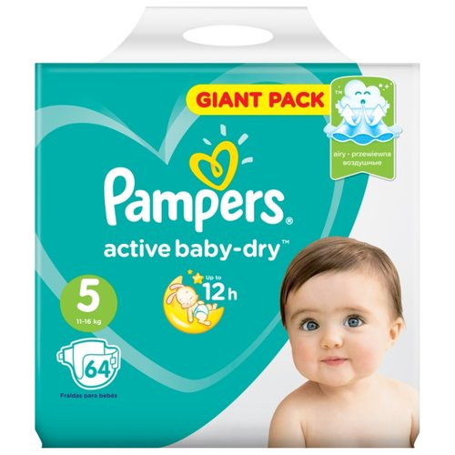 Pampers подгузники Active Baby-Dry 5 (11-16 кг) 64 шт. подгузники pampers active baby dry 5 11 16 кг 60 шт