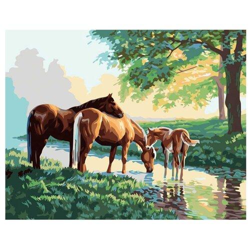 Купить Белоснежка Картина по номерам Скакуны на водопое 40х50 см (633-АВ), Картины по номерам и контурам