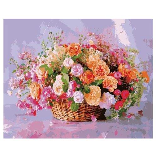 Купить Цветной Картина по номерам Корзина роз 40х50 см (MG3204), Картины по номерам и контурам