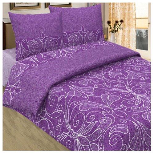 Постельное белье 2-спальное с евро простыней Традиция 1103 Жемчужина бязь фиолетовый цена 2017