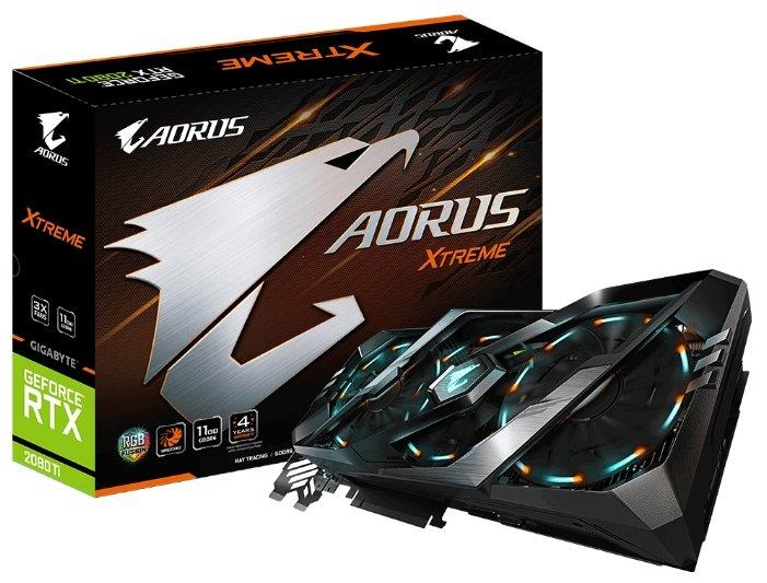 Видеокарта GIGABYTE AORUS GeForce RTX 2080 Ti 1770MHz PCI-E 3.0 11264MB 14140MHz 352 bit 3xHDMI 3xDi