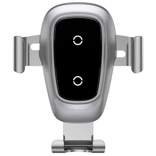 Купить Держатель с беспроводной зарядкой Baseus Metal Wireless Charger Gravity Car Mount (Air Outlet Version) серебристый
