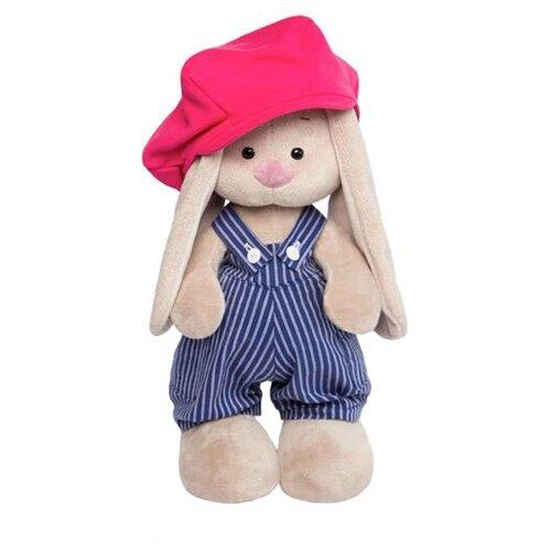 Купить Мягкая игрушка Зайка Ми в синем комбинезоне в полоску и с малиновой кепкой 32 см, Мягкие игрушки