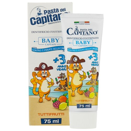 Купить Зубная паста Pasta del Capitano Тутти-Фрутти 3+, 75 мл, Гигиена полости рта