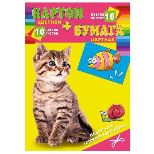Купить Набор цветного картона и цветной бумаги Котенок и рыбка Проф-Пресс, A4, 26 л., Prof-Press, Цветная бумага и картон
