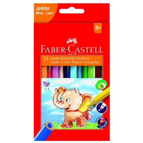 Faber-Castell Цветные карандаши Jumbo Triangular с точилкой 24 цвета (116524) faber castell цветные карандаши jumbo triangular с точилкой 12 цветов 116501