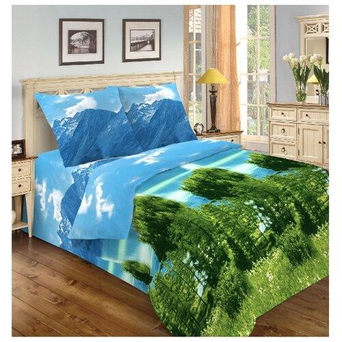 Постельное белье 1.5-спальное Диана-Текс Красоты России Алтай с 1 наволочкой 70х70 см, микрофибра голубой/зеленый косметика зеленый алтай